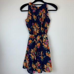 Zara Woman Floral Halter Mini Dress Sz S